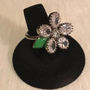 Juicy Couture Flower Ring Silver Adjustable